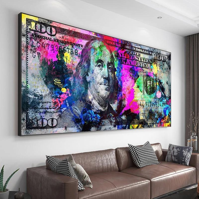 Paintings Inspirational Dollars Print 100 Dollar Poster Cash Art Bill Money Canvas Living Room Decoration Wall Picture