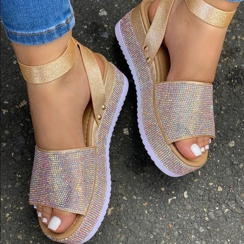 Bling Boucle Boucle Fashion Femme Plateforme Sandales Chaussures pour femmes SandAlilas Sandles Femme Femme Sandale Appartement Casual Summer 2021