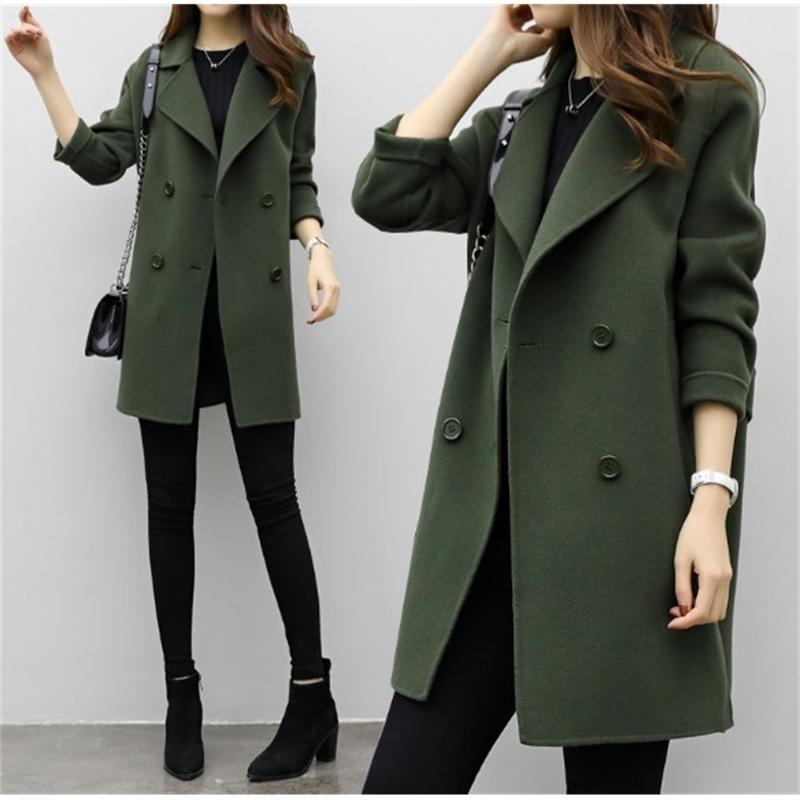New Womens Slim Wool Blend Casaco Casacos de Manga Longa Jaquetas Defesa Collar Casual Casaco Outono Jaqueta De Inverno Elegante Casaco Elegante Casaco