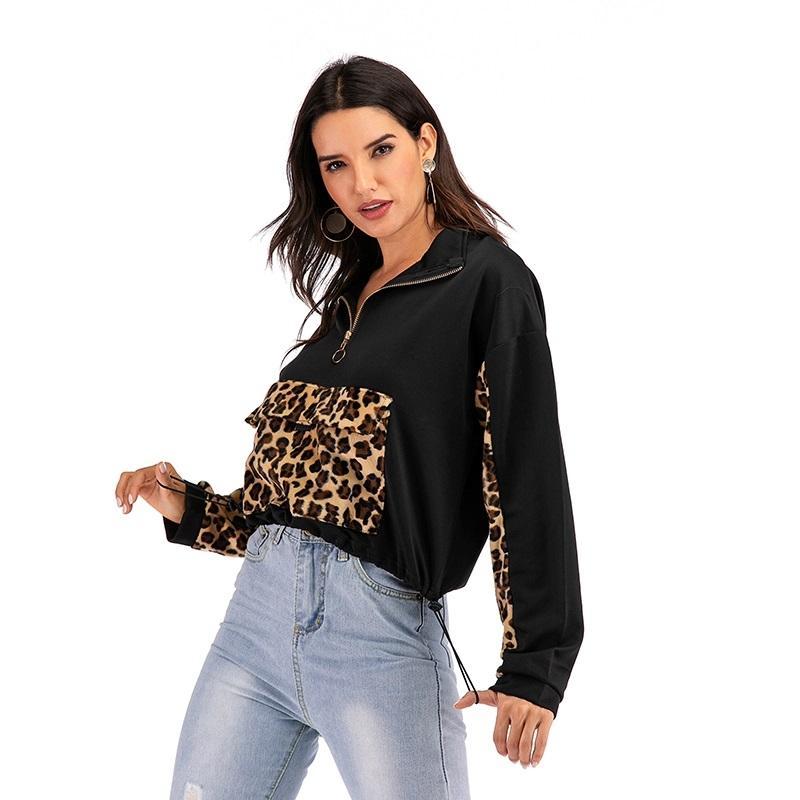 Nähen Leopard drucken langärmelige beiläufige Sweatershirt