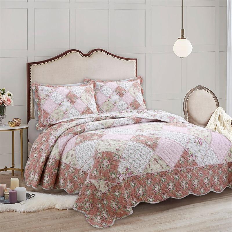 Bettdecken Sets Chauub Bettverbreite auf dem Bett Baumwolle Quilt 3 stücke Floral Patchwork Kissenbezug Queen Size Sommerdecke für gesteppte Küste