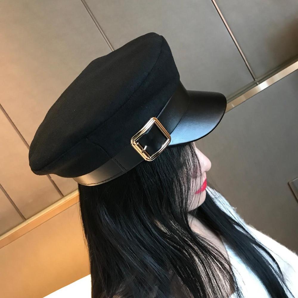 Kadınlar Siyah Askeri Şapka Sonbahar Kış Moda Yün PU Deri Patchwork Newsboy Kapaklar Kemer Kadın Gorras