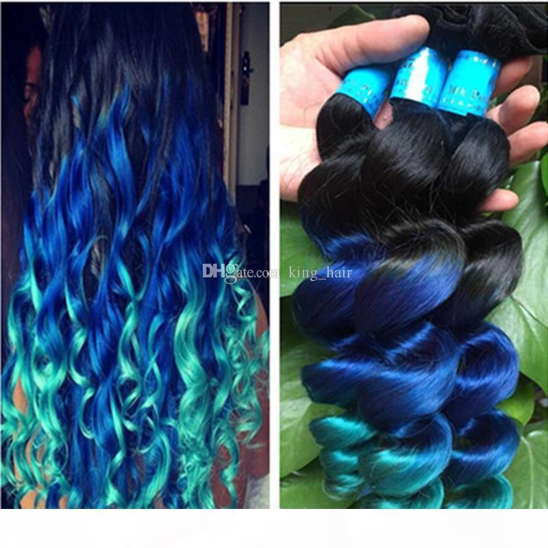 Bakire 9A # 1B Mavi Yeşil İnsan Saç Atkı Koyu Kök Gevşek Dalga Saç Uzatma Ombre Renk 1B Mavi Yeşil Saç 3 Paketler