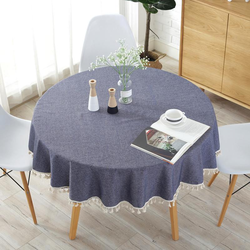 Mantel de poliéster de algodón moderno para la mesa redonda diámetro 150 cm azul marino borla borla borde a prueba de polvo tela de decoración