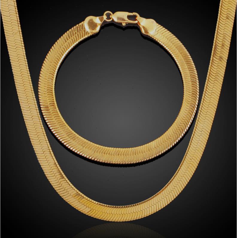 مجموعات مجوهرات الرجال الكلاسيكية الهيب هوب 18 كيلو الذهب الحقيقي مطلي أساور قلادات سلسلة ثعبان سميكة