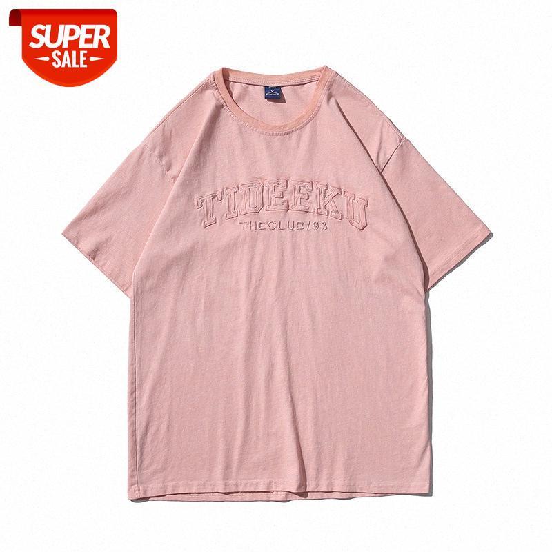Европейская и американская улица лето ретро письмо печати футболки с короткими рукавами мужчины модный бренд хип-хоп Свободная пара повседневные COM # 6H4T