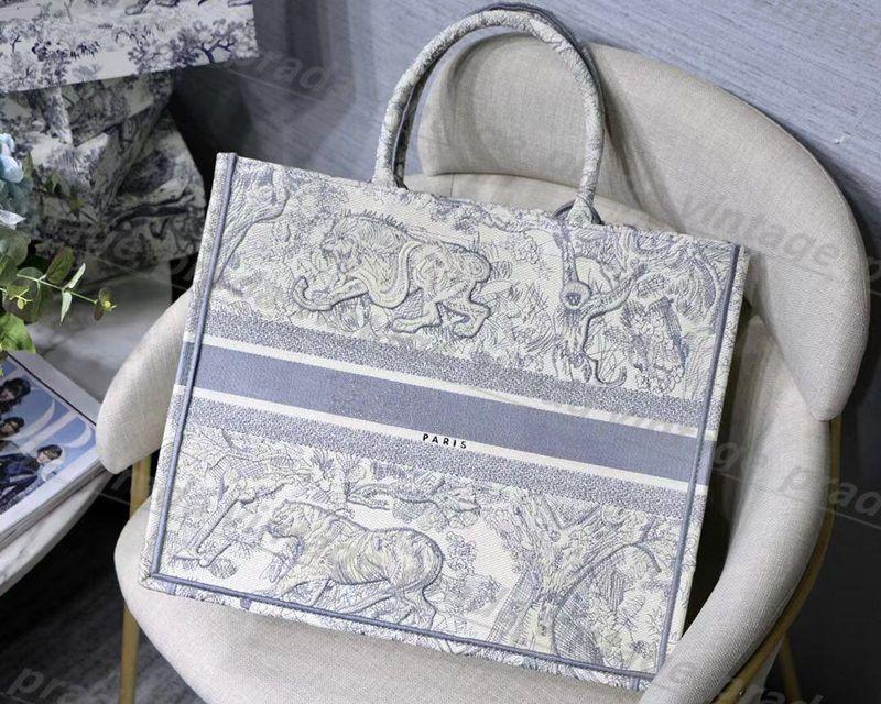 최고 품질의 자수 원래 luxurys 디자이너 가방 hobo 수 놓은 호랑이 패턴 대용량 쇼핑 가방 핸드백 핸드 메이드 양면