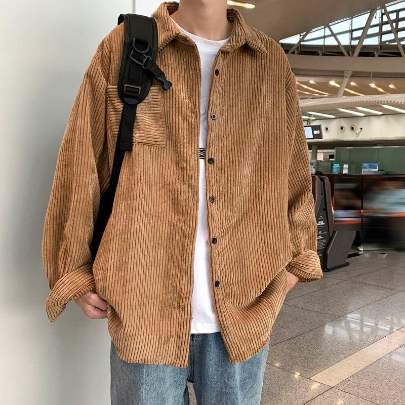 Men's Jackets Corduroy Shirt Long Sleeve Spring Autumn Fashion Ins Casual Black Khaki Coat Blouse Couples College Favourite Recommend