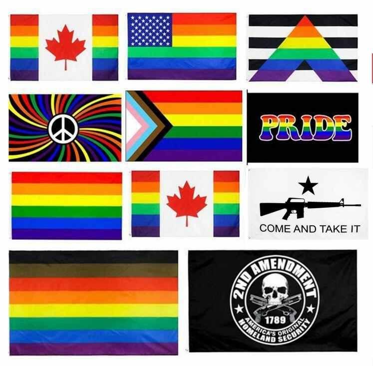 DHL SHIPPING 3X5 فيلادلفيا Phily مستقيم حليف التقدم LGBT Rainbow مثلي الجنس فخر العلم الولايات المتحدة الدستور 2nd الثاني التعديل العلم CJ11