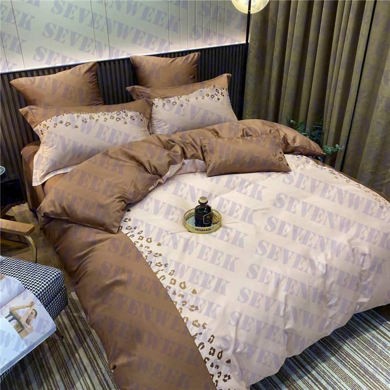 Embroidery Letter Quilt Cover Bedding 4pcs Set Luxury Cotton Couples Home Duvet Covers Bed Sheet Pillowcase Queen Size