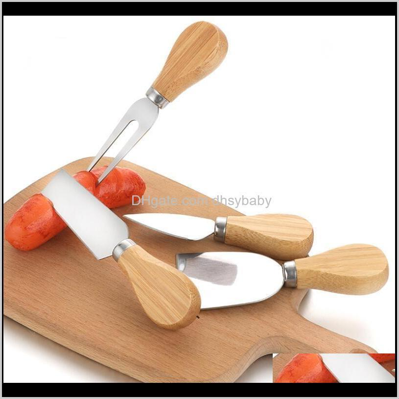 أدوات الجبن سكين مجموعة البلوط مقبض شوكة مجرفة طقم مخالفات الخبز بيتزا القطاعة القاطع HHB6132 NBSVV QTMCZ