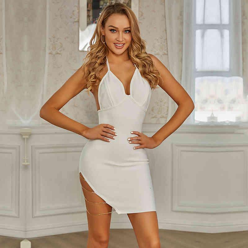 Elbise SWTAO Beyaz Çizgili Elbise, Seksi, Licou Yaka, Zincir, Tayt, Uygun Gece, Gece Kulübü, Yaz 2021 UXDP