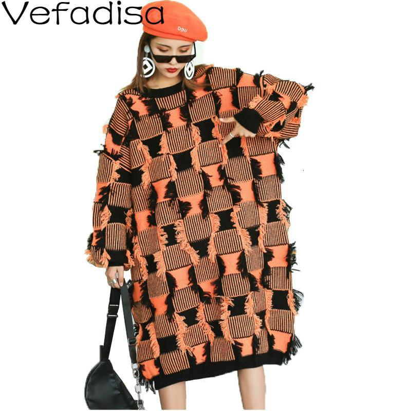 Frauenpullover Vefadisa Quasten Plaid Pullover Kleid Frau 2021 Winter Pullover Stricken Oansatz Lose Langarm Orange QYF1494