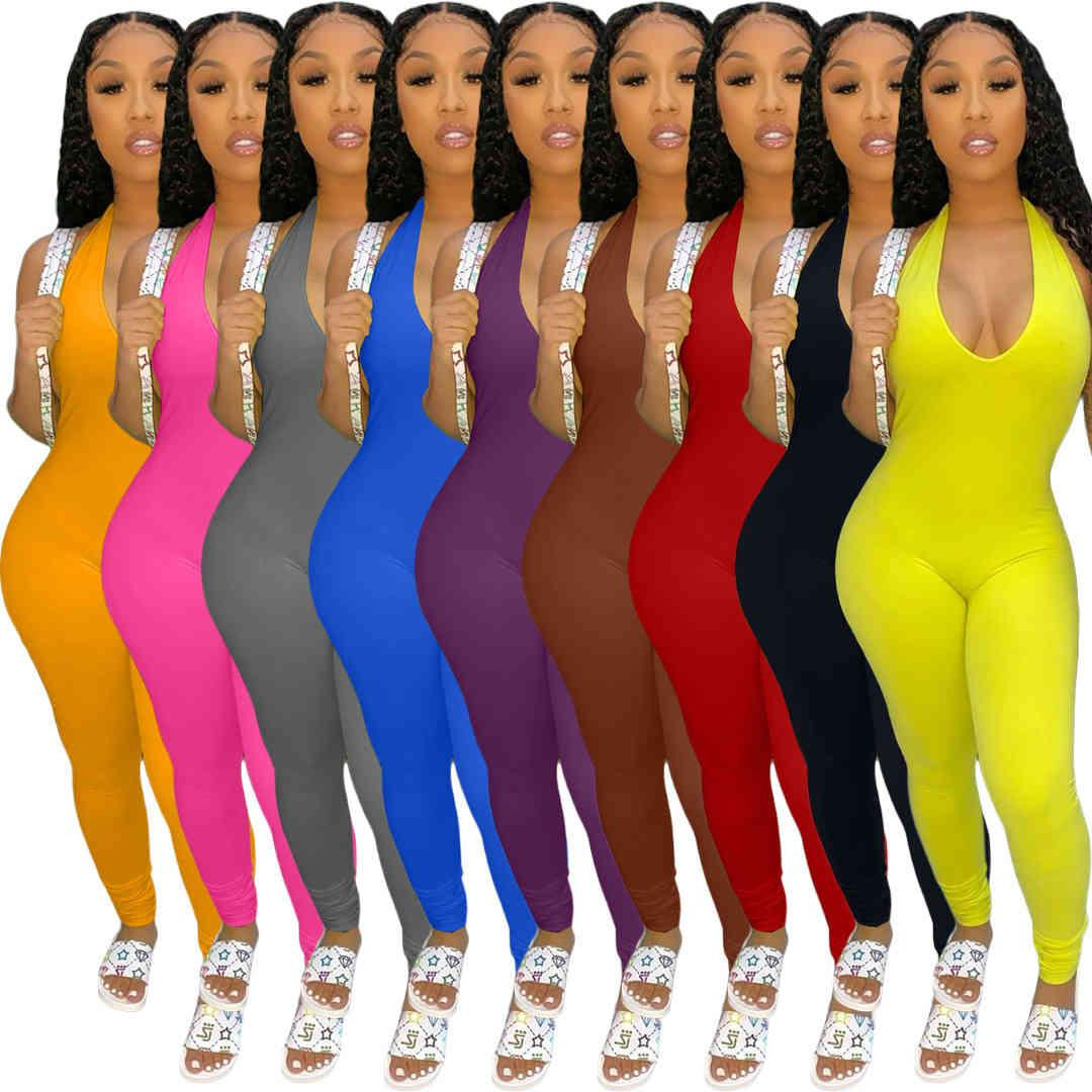 New Women Jumpsuit Designer U-neck women's solid color hanging neck open back pile pants leg sexy Slim Rompers Fashion Casual Clothing 1491