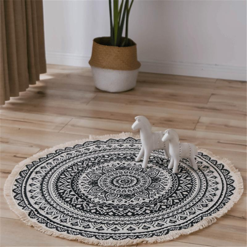 Carpets Carpet Bedroom Round Ethnic Style Striped Soft Suitable For Home Living Room Coffee Table Doormat Dia90cm