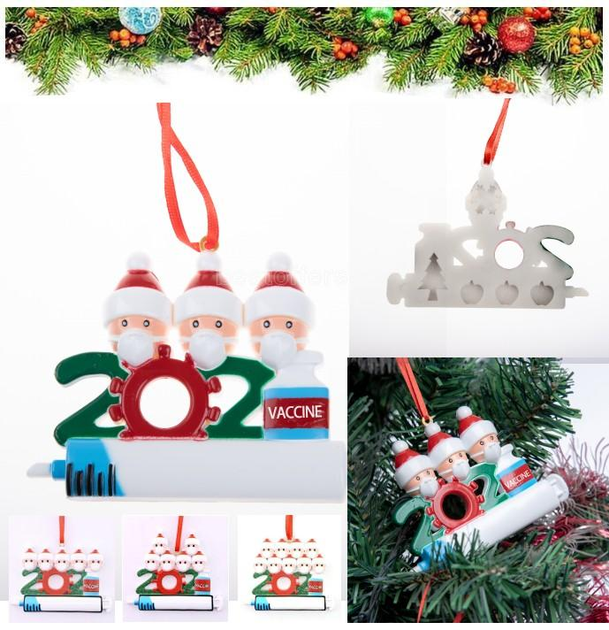 DHL Fast Navidad Decoración fiesta Favoritos Adornos de cuarentena Resina Santa Claus con máscara Decorar Navidad Árbol Colgantes colgantes CT18