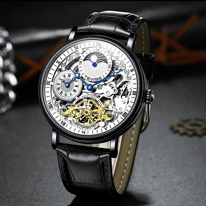 Turbillon Moda Aydınlık Erkekler Saatler Üst Su Geçirmez 30 M Mekanik İskelet Saat Çift Zaman Deri Kayışı 2021 Saatı