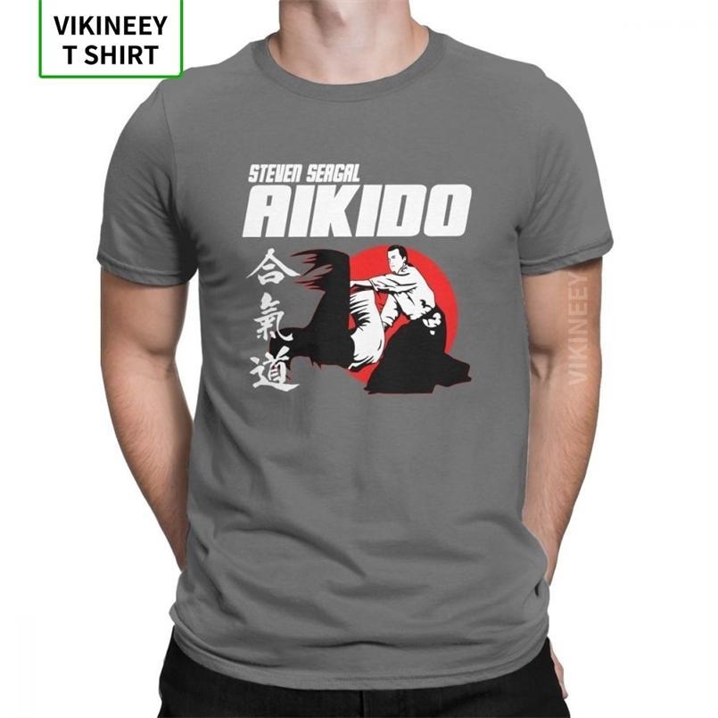 Aikido تي شيرت فنون الدفاع عن النفس اليابان كانجي الرجال ستيفن سيغال خمر س الرقبة قصيرة الأكمام الملابس 100٪ القطن تيز زائد الحجم تي شيرت 210420