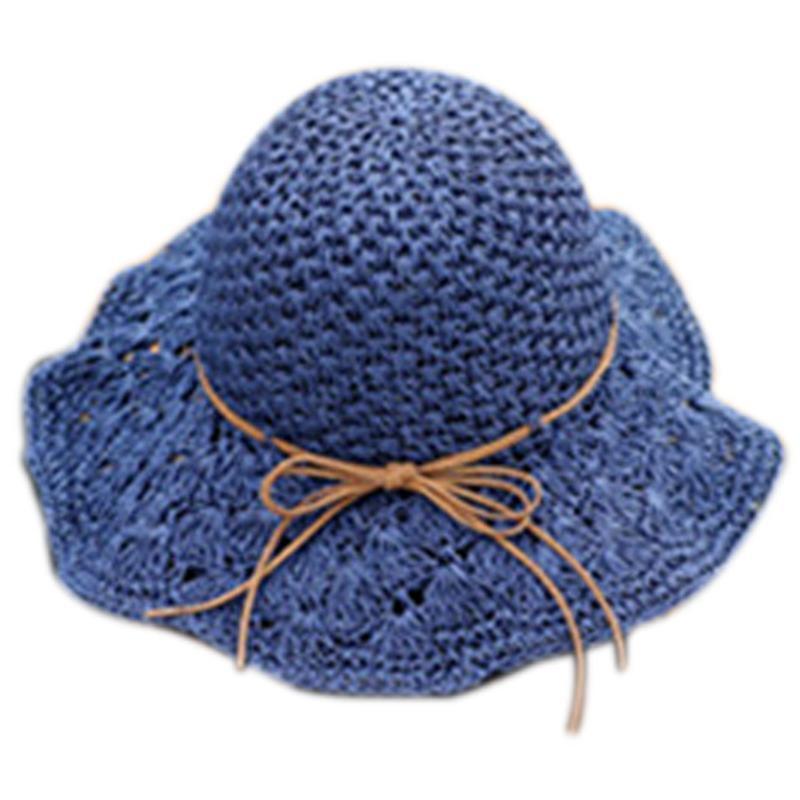 Hat Summer Women'S Foldable Large Brim Beach Sun Straw Cap For Ladies Elegant Vacation Travel Hats Navy Wide