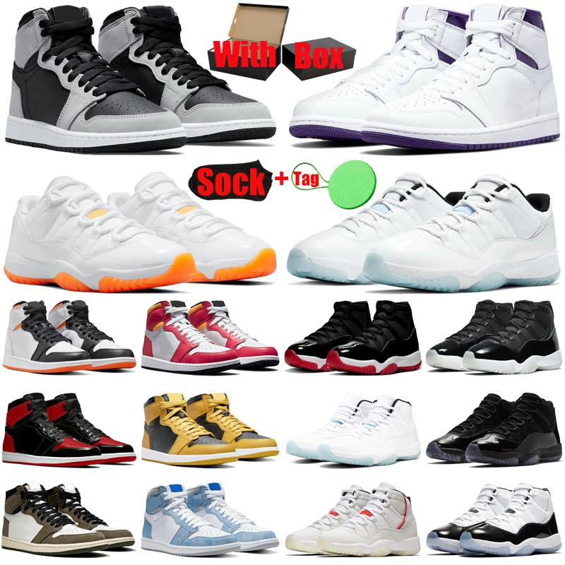 With Box&Sock 1s 11s mens basketball shoes jumpman Shadow 2.0 Hyper Royal Bright Citrus Bred Patent UNC men women trainers sports sneakers