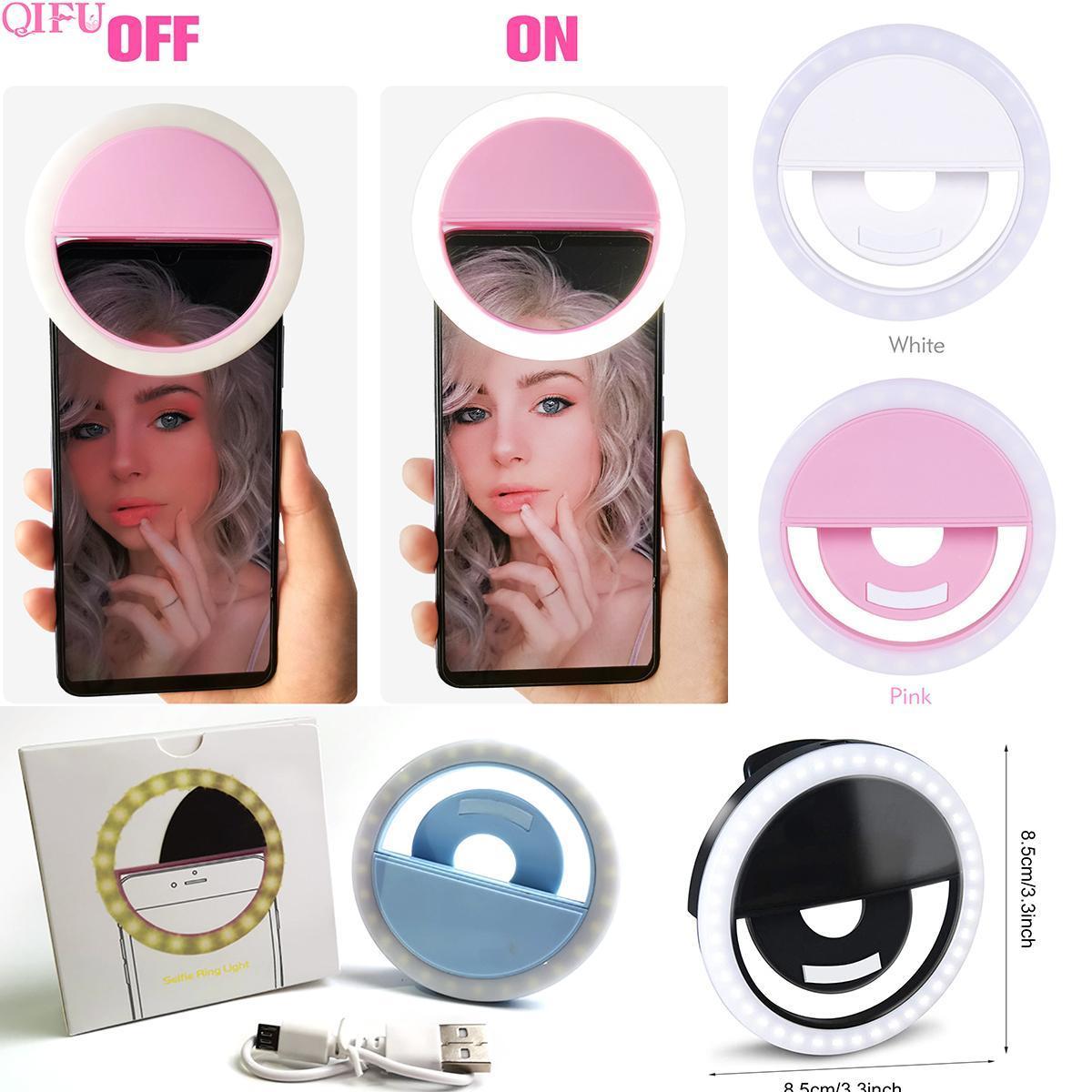 RK12 Luz de anel de selfie recarregável com câmera LED fotografia flash Light up selfie anel luminoso com cabo USB Universal para todos os telefones