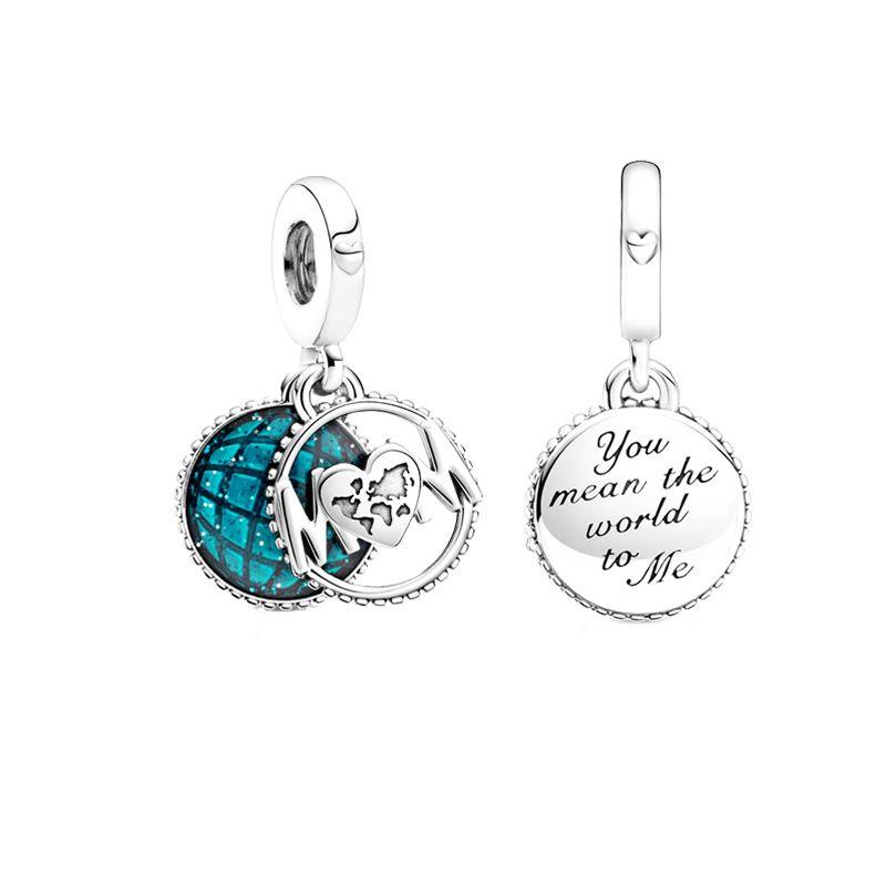 Giornata della mamma Serie 925 argento sterling glitter globo mamma penzolare perline di fascino adatto in forma originale Pandora Charms Bracciale gioielli per il braccialetto che fa 117 W2