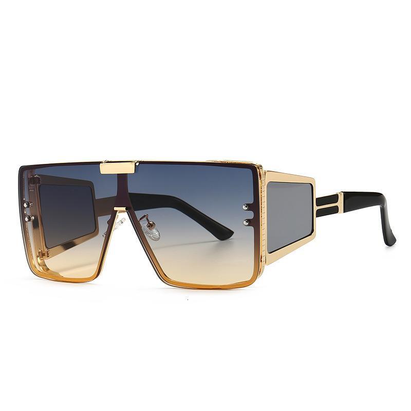 Quadrato Oversized One Piece Lens Donne Uomo Retro Brand Design Moda Sfumature Vintage Sunglasses UV400 Oculos