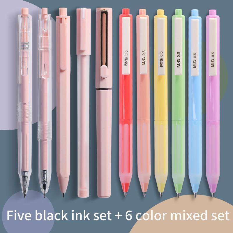 M&G Cute Morandi Gel Pen Set Quick Drying Kawaii Color /Needle Tip 0.35mm/0.5mm Black Ink School Stationery Supply Pens