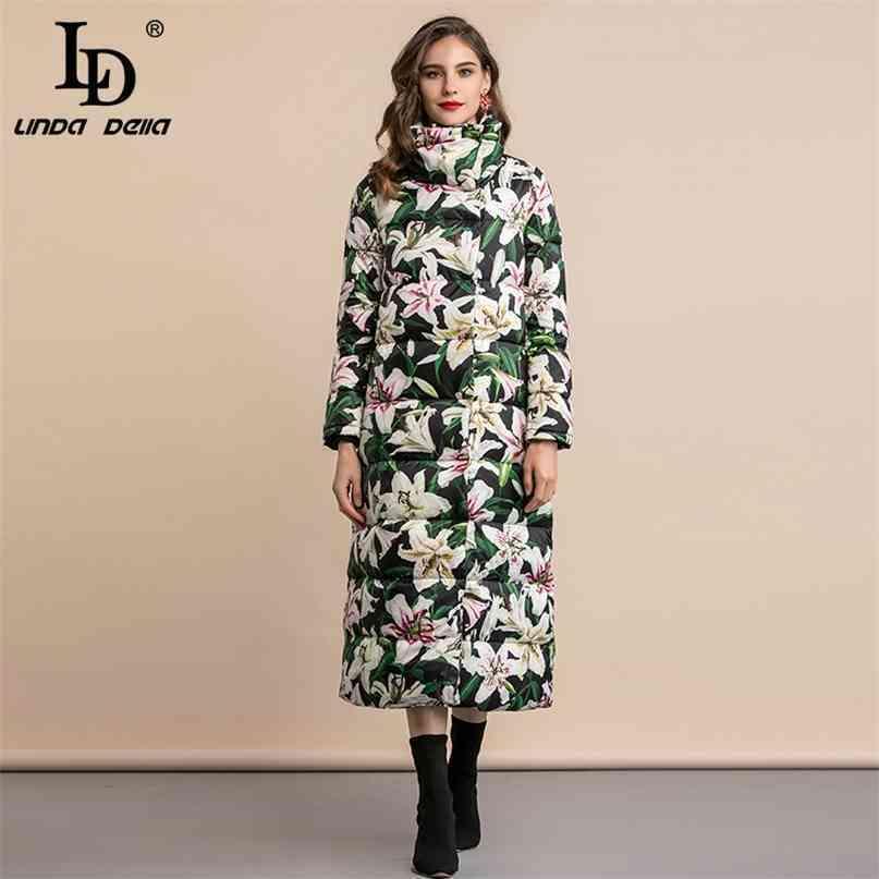 Hiver hiver épaissi blanc canard blanc veste veste vintage élégant floral impression longues manteaux d'extérieur 210522