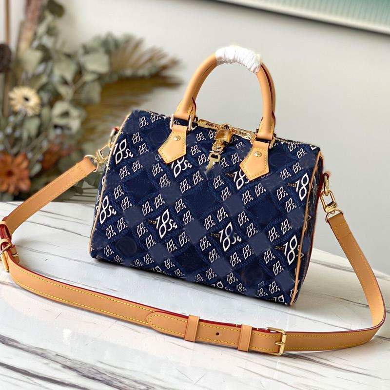 Denim Handbag Crossbody Bags Speedy Pillow Bag Genuine Leather Canvas Jacquard Classic L letter Double Zip Padlock Golden Hardware Removable Shoulder Strap
