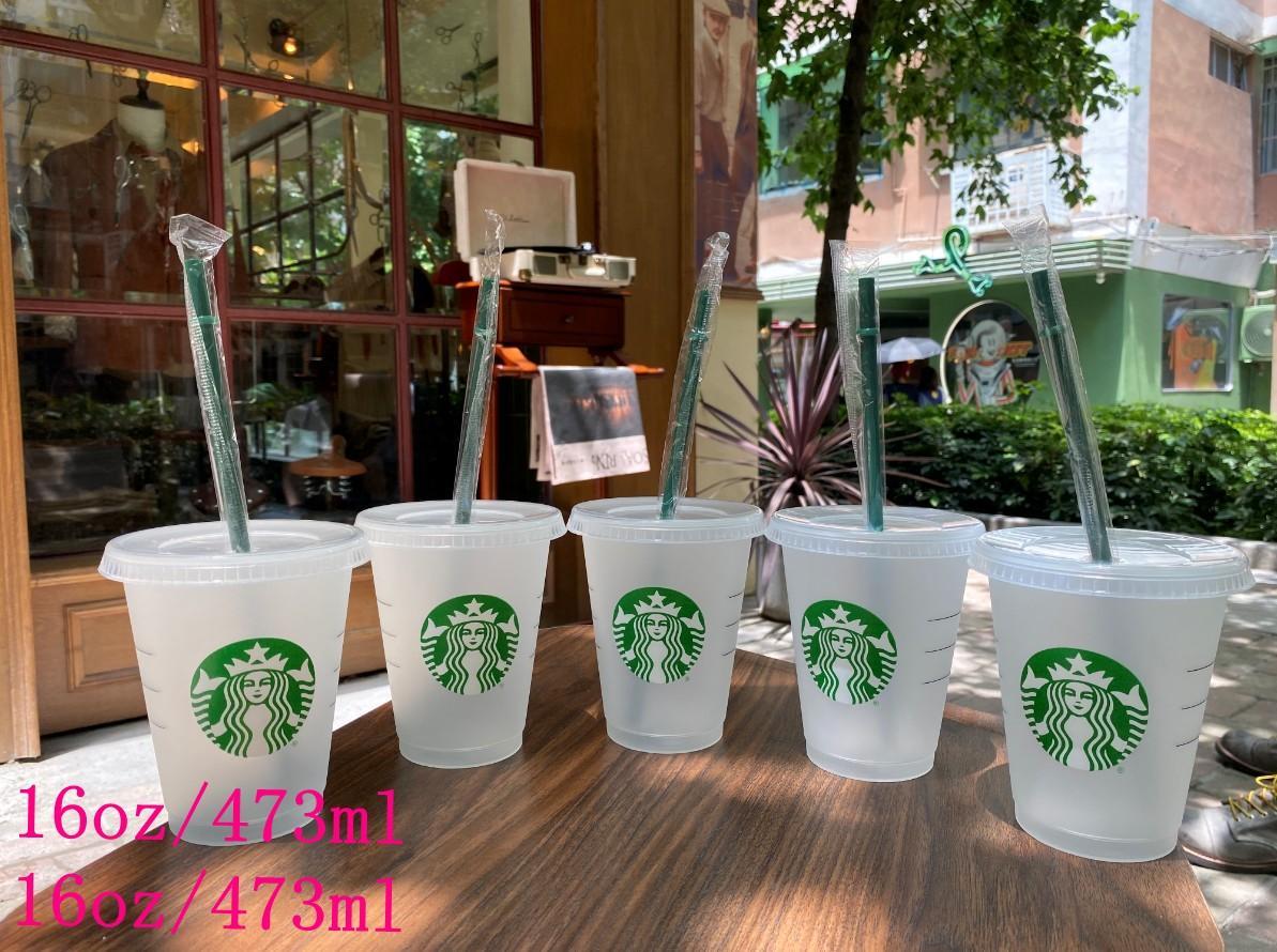 أكواب Starbucks 16oz / 473ML أكواب بهلوان بلاستيكية قابلة لإعادة الاستخدام شرب شرب مسطح أسفل عمود شكل غطاء قتر