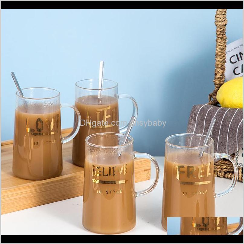 Кухня для алкоголя, обеденный бар Сад Drop Доставка 2021 Золотая буква Стеклянная чашка Home High Boron Sil Cups Creative сок молокозавод