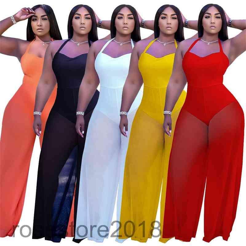 여성용 Jumpsuit 새로운 디자이너 패션 솔리드 컬러 양면 재료 접합 스트랩 스타일 원피스 바지 목 교수형 Bodysuit