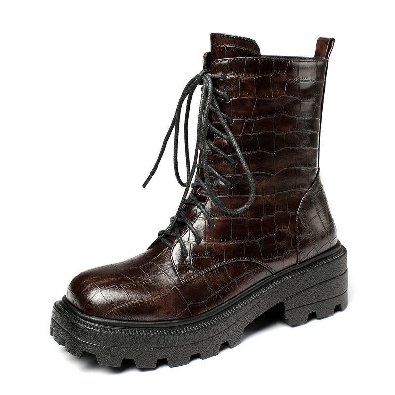Bottes 2021 noir brun automne hiver femmes plateforme plate-forme talon plat chevrette fashion tae haltère chaussures dames