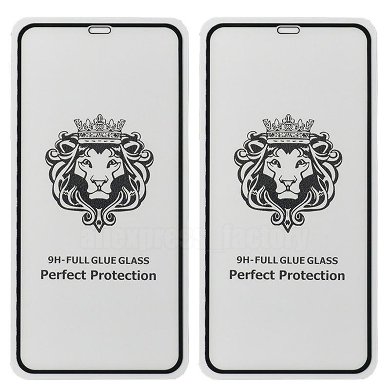 Lew Harted Glass Pełny Klej Zakrzywiony 9H Screen Protector Guard Ochronna Ochronna Osłona Pokrywa Premium Dla iPhone 13 Pro Max 12 mini 11 x x x 8 7 6 6s plus se