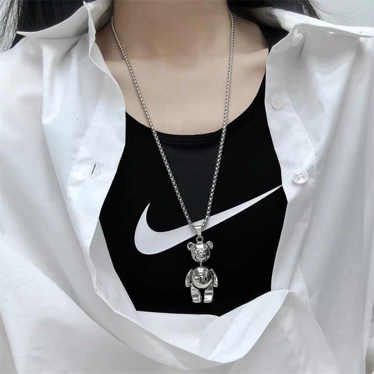 2021 Sophie New Hip Hop Bear Titanium Steel Sweater Necklace Jewelry Women's Pendant Long Stainless