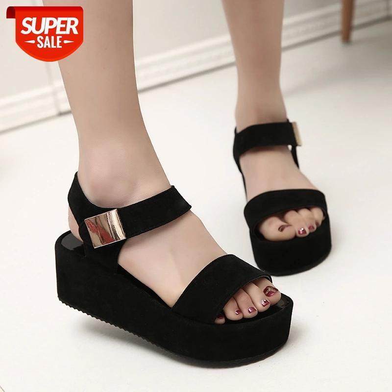 Women Female Ladies Mother PU Sandals Flats Soft Hook Loop Korean Bling Summer Beach Sandalias Mujer Size 35-42 #qZ4h