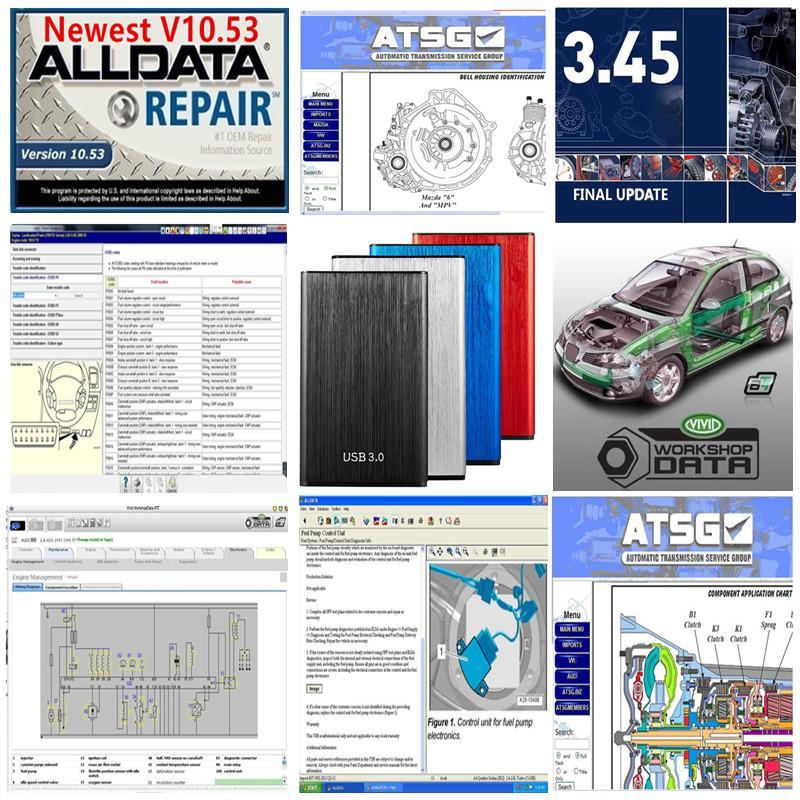2021 Quente Todos os dados 10.53 + MIT 2015 + VÍVIDO + ATSG 24 em 1TB HDD USB3.0 Suporte Ajuda Remota