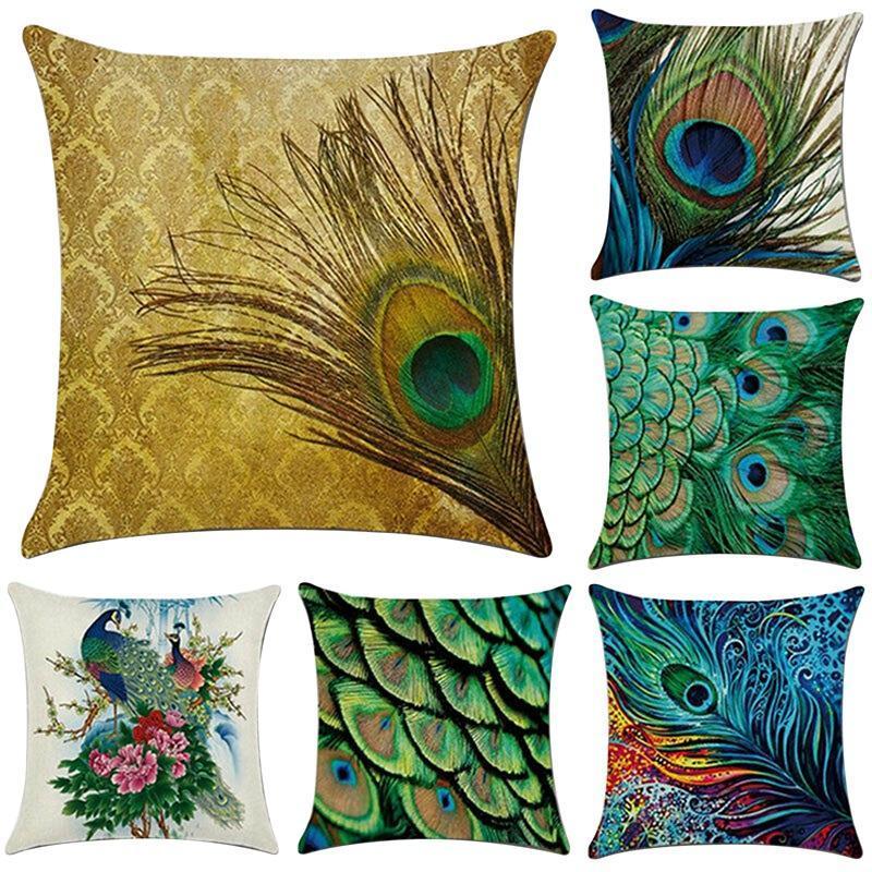 Funda de almohada 6 PCS Peacock Patrón de plumas Funda de almohada Cubierta de lino Decoración para el hogar Cojín cuadrado Impresión