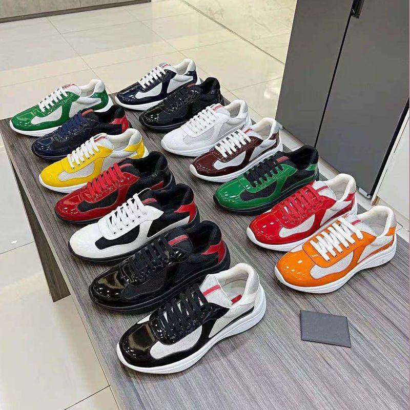Designer homens sapatos de copo da américa bike tecido sneakers laranja patente malha de couro plana sapato de borracha de borracha de borracha verde lace-up nylon casual sneaker