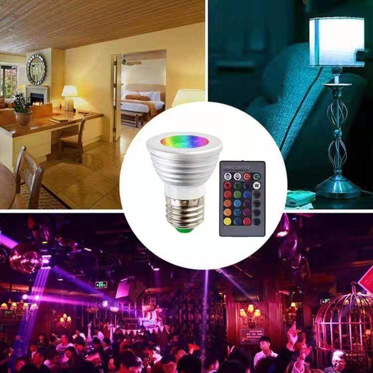 Scheinwerfer LED RGB 3W Fernbedienung Spotlampe Sieben Farbe E27 Halter