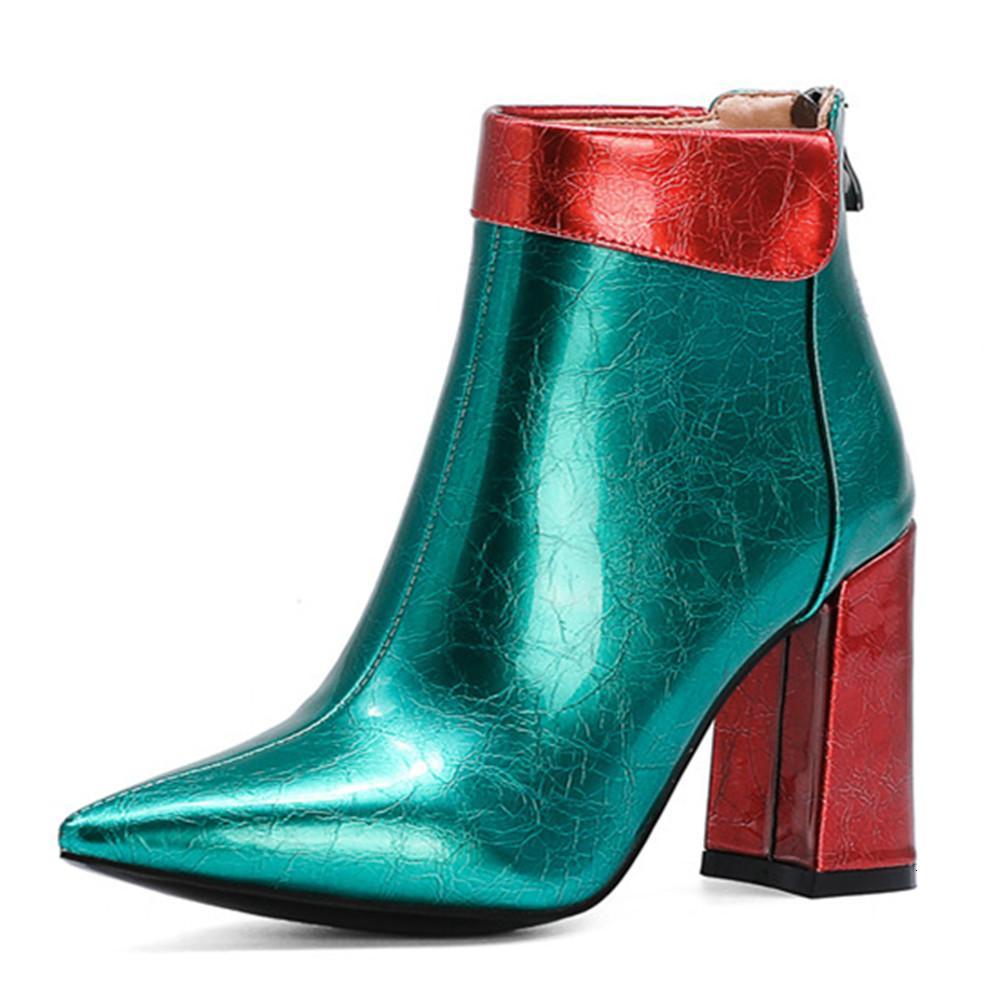 ASUMER Kadınlar Gelmesi Renkler Karışık Zip Kış Heels Highed Için Yüksek Mezuniyet Partisi Ayakkabı Bayanlar Botlar