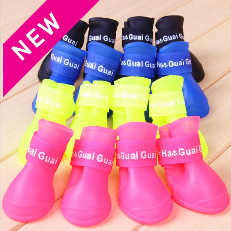 Dog Apparel 4pcs / set Pet Rain Shoes Dogs Rubber Portable Anti-slip Waterproof For Pets