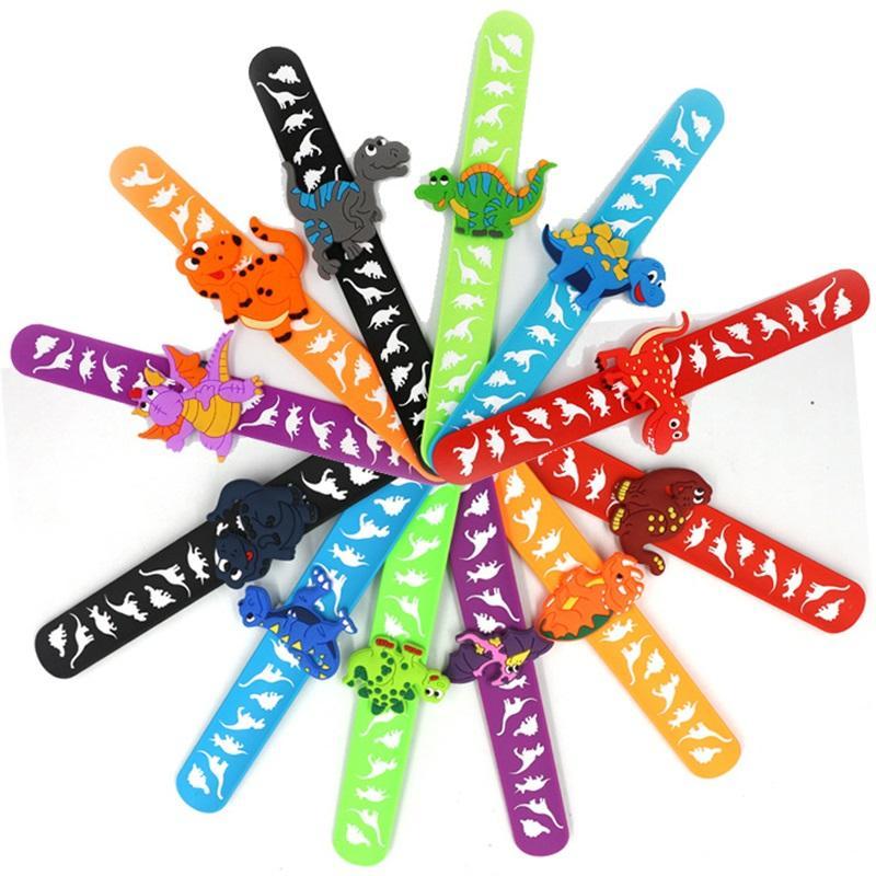 Bambini braccialetto giocattolo del partito favorire la doccia doccia Kawaii Accessori del fumetto Dinosauro dei bambini Braccialetto Braccialetto Gomma Geometrico Colore solido 1715 Q2