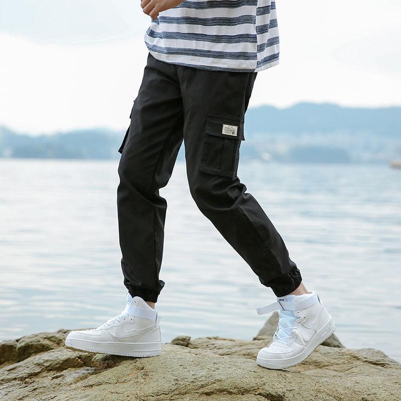 Летние мужские модные модные PAI 9-точки брюки для мужчин Студенты свободные корейские брюки черные тонкие комбинезоны связывают маленькие ноги