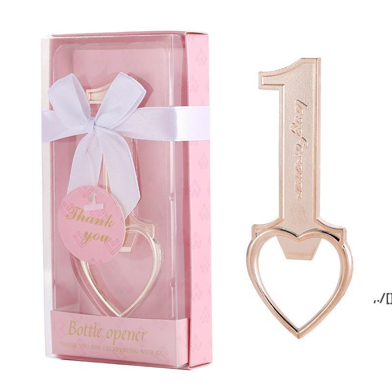 Household Golden Beer Bottle Opener Creative Number 1 Heart Shaped Corkscrew Wedding Dinner Guest Gift Kitchen Tool AHA6004