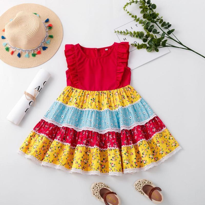 Vestidos de niña niños de verano colorido estampado floral princesa vestido de niñas sin mangas o-cuello alto cintura a-line volante dulce lindo soldress