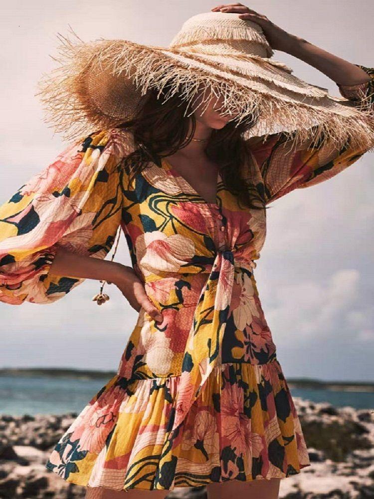 Ladies Casual Dresses summer chiffon 3D printing elegant pleated dress womens short sleeve fashion party beach skirt XL