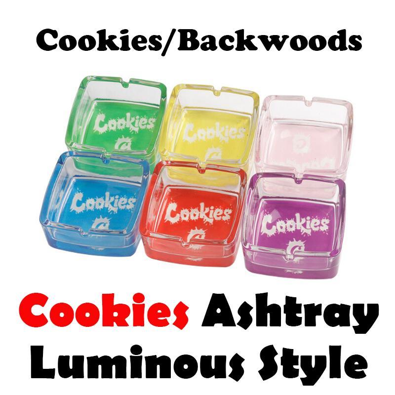 Cookies Backwoods Aschenbecher Leuchtquadrat Transparent Glas Glas Zigarette Mülleimer Dose Tabak Rauchen Trockene Kräuterzubehör