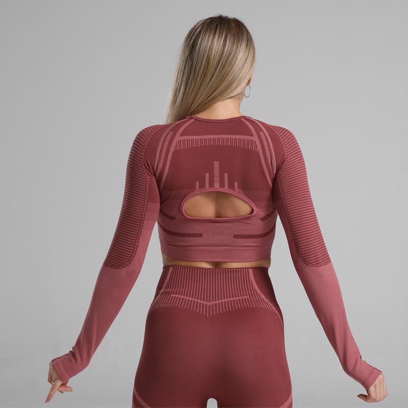 Elasticidad y alto apretón rápido de la aptitud ajustada de la aptitud sexy abierta ombligo yoga ropa camiseta hembra